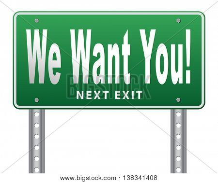 we want you weâ??r hiring new recruits for a job vacancy, 3D illustration, isolated, on white
