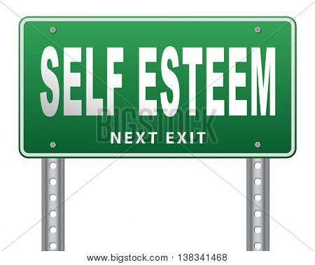 Self esteem or respect confidence and pride psychology 3D illustration, isolated, on white