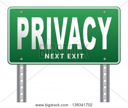 private and personal information road sign, billboard for privacy protection and discretion of restricted info and data 3D illustration, isolated, on white