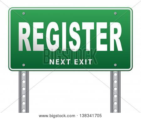 register now member registration road sign membership billboard 3D illustration, isolated, on white