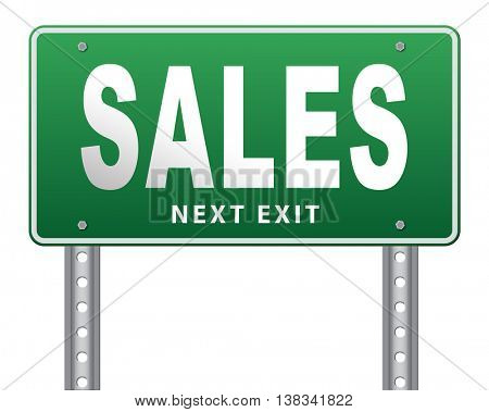 sales online shopping concept with discount web shop bargain cheap order at webshop sale road sign billboard 3D illustration, isolated, on white