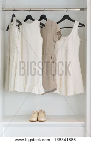 Earth Tone Color Dress Hanging On Rail In White Wardrobe
