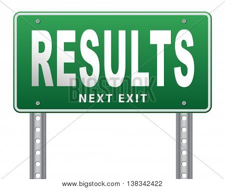 results and succeed business success be a winner in business elections pop poll or sports market result or report election 3D illustration, isolated, on white