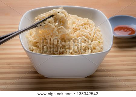 Ramen Instant Noodles Isolated in White Bowl