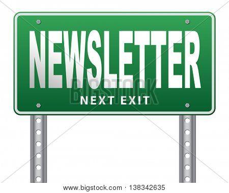 newsletter latest hot breaking news bulletin 3D illustration, isolated, on white
