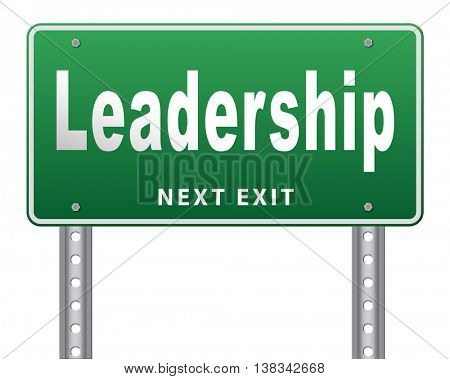 leadership road sign, follow team leader or way to success concept business leader or market leader. 3D illustration, isolated, on white