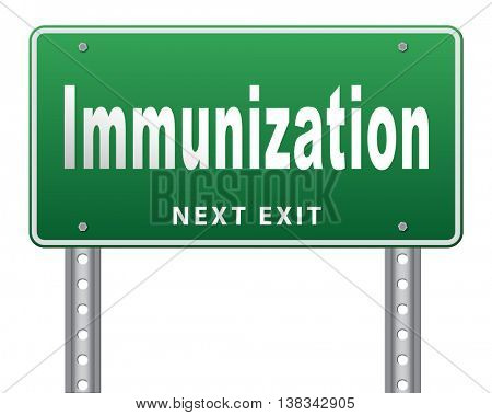 Immunization or flu vaccination needle, road sign billboard. 3D illustration, isolated, on white