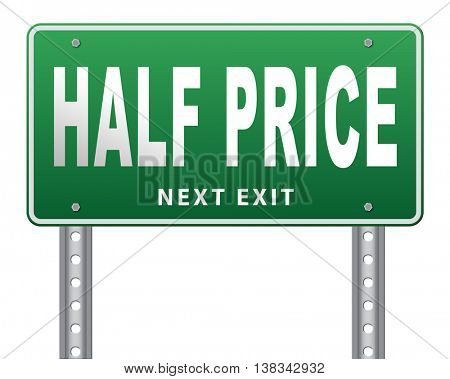 half price sale sign 50% sales reduction 3D illustration, isolated, on white