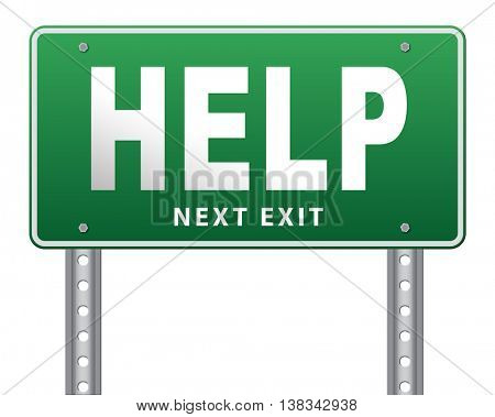 help search find assistance and helping hand, support or help desk online support help road sign, billboard.  3D illustration, isolated, on white