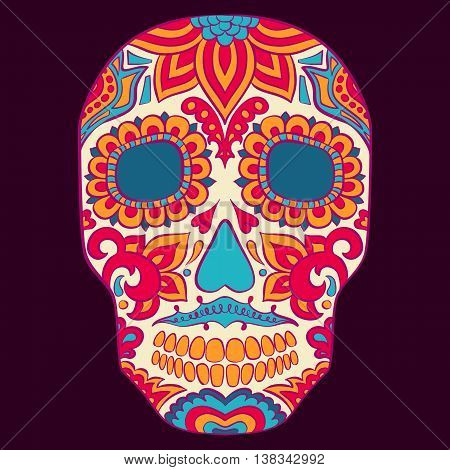 Day Of The Dead Skull Vector Set floral