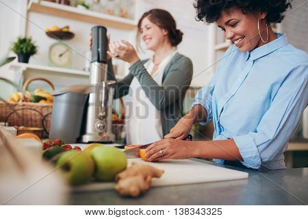 Two Women Working At Juice Bar