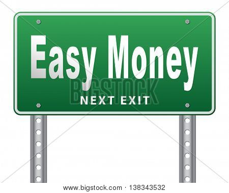Fast easy money quick extra cash make a fortune online income  3D illustration, isolated, on white