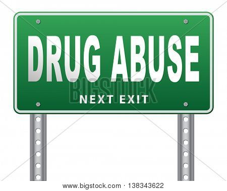 Drug abuse and addiction stop addict by rehabilitation in rehab center no drugs 3D illustration, isolated, on white