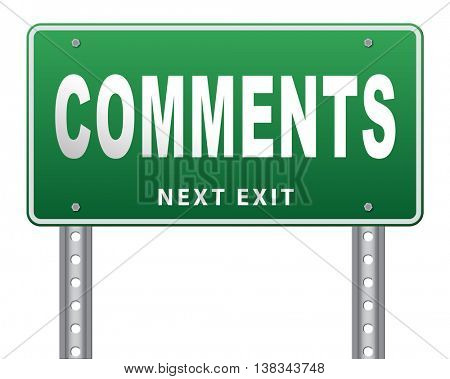Comments road sign, feedback on blog and give your customer comment opinion and testimonials 3D illustration, isolated, on white