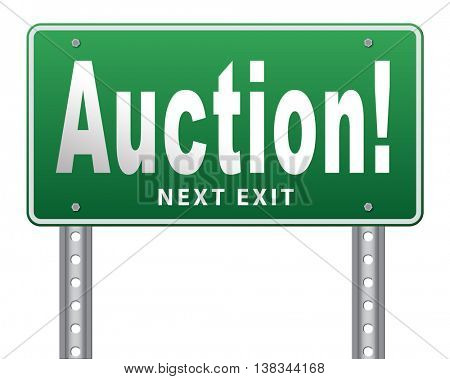 Online auction bid here and now. Buy and sell products real estate and cars or houses on the internet. 3D illustration, isolated, on white