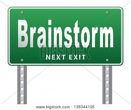 Brainstorm teamwork to creative fresh idea or solution team brainstorming search innovation and inspiration think tank, road sign billboard. 3D illustration, isolated, on white