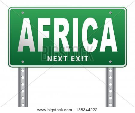Africa continent tourism vacation and travel, road sign billboard. 3D illustration, isolated, on white