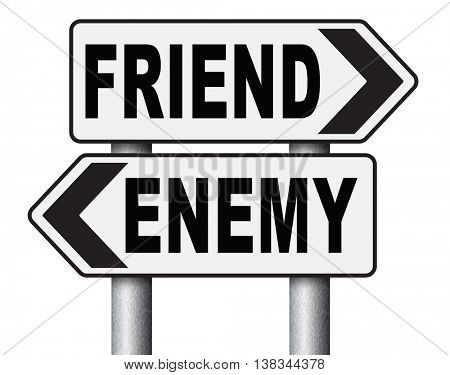 friend enemy best friends or worst enemies friendship 3D illustration, isolated, on white