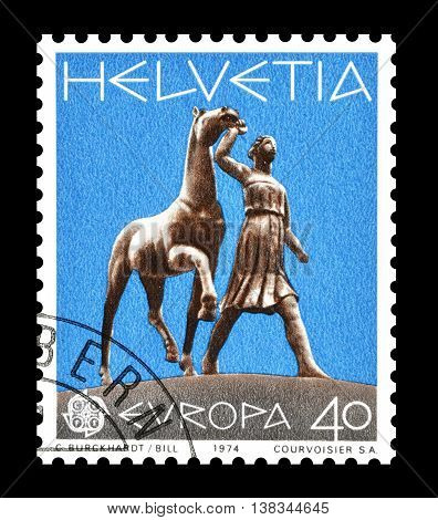 SWITZERLAND - CIRCA 1974 : Cancelled postage stamp printed by Switzerland, that shows Sculpture by Carl Burckhardt.
