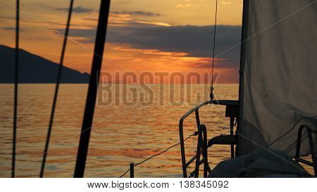 Background - beautiful morning on board a sailing yacht