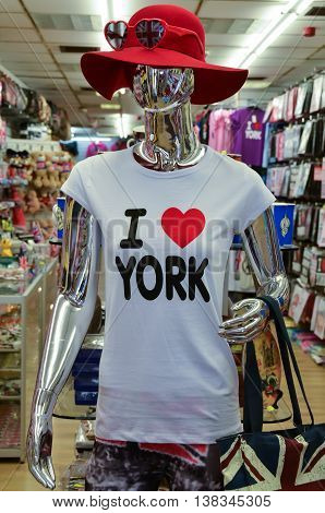 The clothes dummy mannequin in souvenir shop in York UK