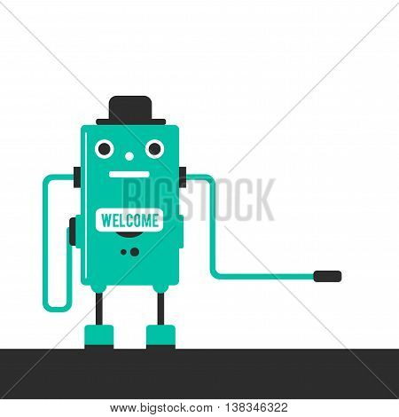 Future has come. Robot worker in a hat. Vector flat illustration. Modern technologies