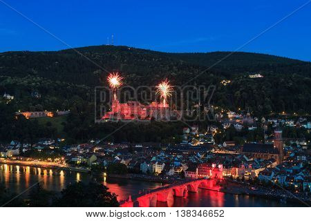 Firework over the famous castle of Heidelberg Germany