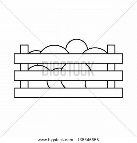 Watermelons in wooden crate icon in outline style isolated vector illustration