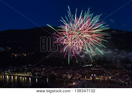 Firework over the city of Heidelberg Germany