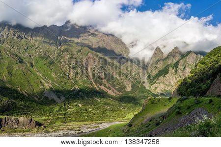 Georgian Military Highway Caucasus mountains, beautiful nature.