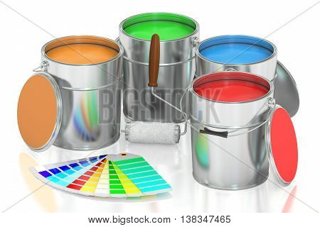 Paint cans palette and roller brush. 3D rendering isolated on white background