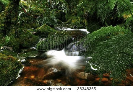 Cascading Waterfall Pancake Rocks Concept