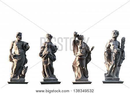 Four Gods on white background from XVIII century Jove Juno Medusa Hercules