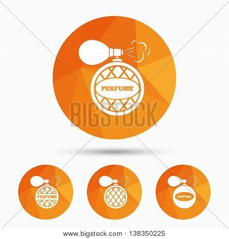 Perfume bottle icons. Glamour fragrance sign symbols. Triangular low poly buttons with shadow. Vector