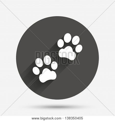 Paw sign icon. Dog pets steps symbol. Circle flat button with shadow. Vector