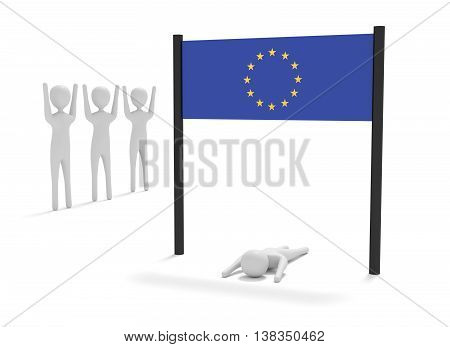 Just reached the European Union 3d illustration