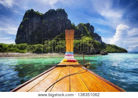Traditional long tail boat on the way to Maya Bay, Koh Phi Phi Island, Krabi Province, Thailand.