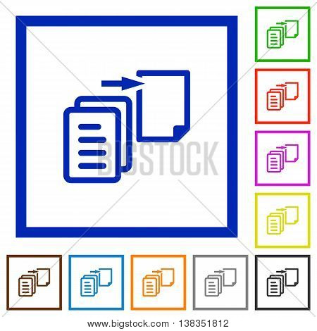 Set of color square framed Move file flat icons