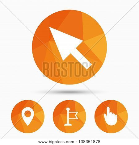 Mouse cursor icon. Hand or Flag pointer symbols. Map location marker sign. Triangular low poly buttons with shadow. Vector