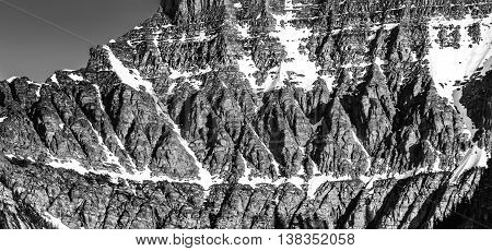 Detail on Mt Oberlin Black and White shows the dramatic intricacies of the Rocky Mountains