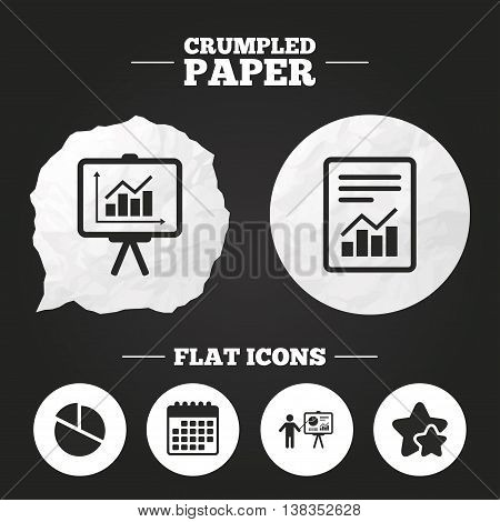 Crumpled paper speech bubble. File document with diagram. Pie chart icon. Presentation billboard symbol. Supply and demand. Paper button. Vector