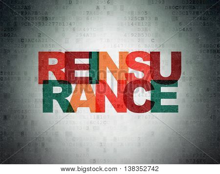 Insurance concept: Painted multicolor text Reinsurance on Digital Data Paper background