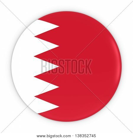Bahraini Flag Button - Flag Of Bahrain Badge 3D Illustration