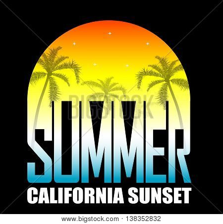 Summer background with palms and stars on sunset. oncept of leisure trave