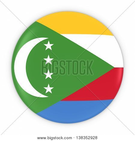 Comoran Flag Button - Flag Of Comoros Badge 3D Illustration