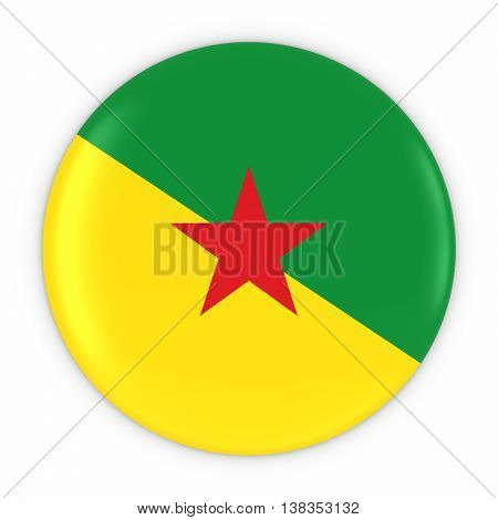 French Guianese Flag Button - Flag Of French Guiana Badge 3D Illustration