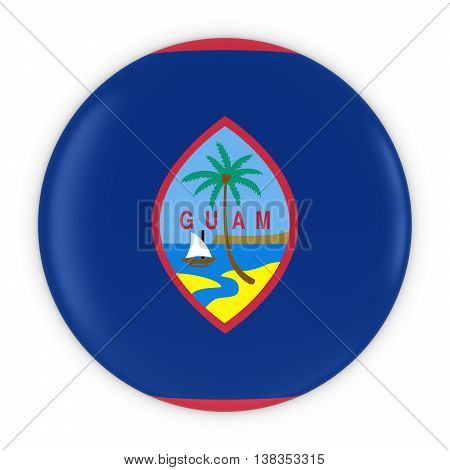 Guamanian Flag Button - Flag Of Guam Badge 3D Illustration