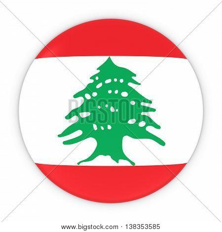 Lebanese Flag Button - Flag Of Lebanon Badge 3D Illustration