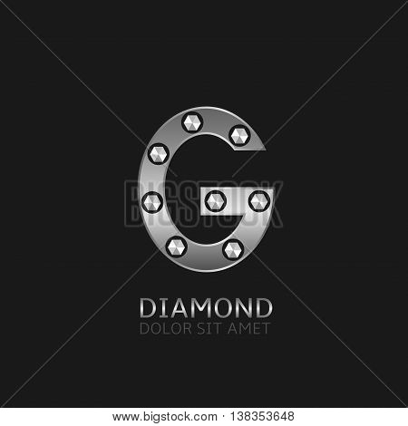 Silver G letter with diamonds. Luxury symbol, Vector illustration