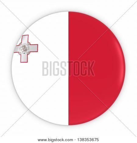 Maltese Flag Button - Flag Of Malta Badge 3D Illustration